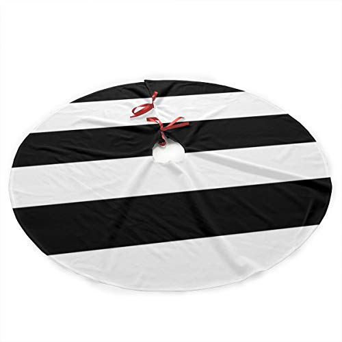 Surwoaly Christmas Tree Skirt 36 inch,Stripes Black White Tree Skirt Mat Christmas Holiday Party Indoor Outdoor Home Xmas Party Decoration