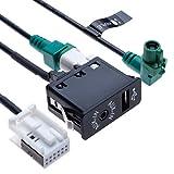 USB AUX Car Switch + USB 4 pines Cable de conexión + AUX 12 pines | Compatible con BMW 1 3 5 6 E81 E82 E87 E88 E90 E91 E92 E92 E93 E60 E61 F07 F10 F11 E63 E64 F06 F12 F13 Radio del vehículo | 1.5 m