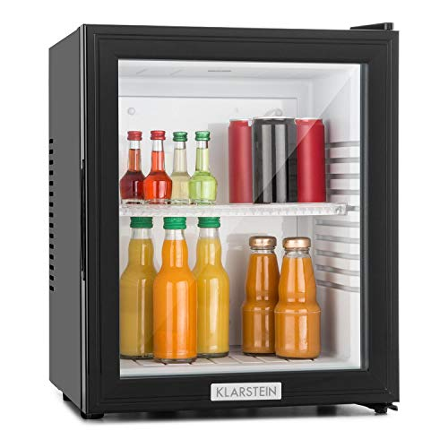 Klarstein MKS-12 - Minibar, Mini Frigorifero, Frigorifero per Bevande, Classe E, Volume 24 Litri, Silenzioso, 1 Ripiano, Porta a Vetro, 3 Stadi di Temperatura, Nero