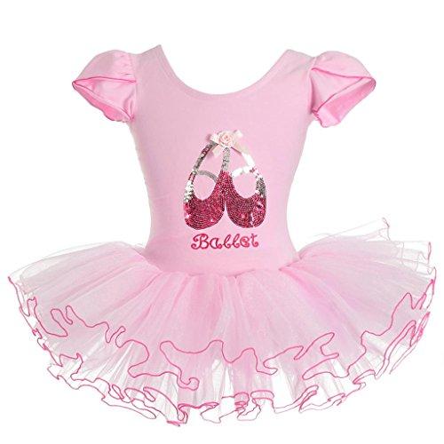 Lito Angels Mädchen Pailletten Ballettschuhe Ballett Tütü Tanzbekleidung Fee Kleider 6-8 Jahre Rosa