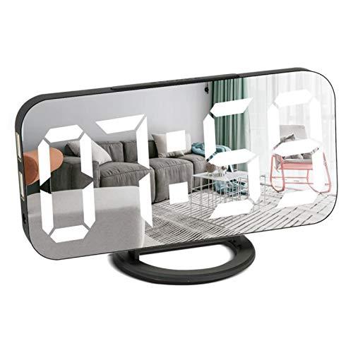 Remeel Reloj Despertador Digital con Puertos de Carga USB, Reloj Despertador Moderno con Superficie de Espejo para Decoración de Habitaciones con Función de Siesta,Brillo Ajustable Reloj de Dormitorio