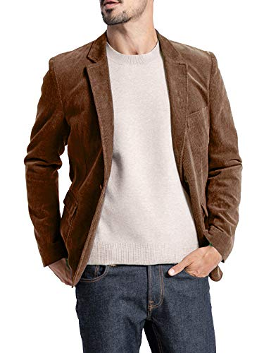 Mens Corduroy Blazer Slim Fit Casual Sport Coat Vintage One Button Notch Lapel Fall Winter Suits Jacket Brown