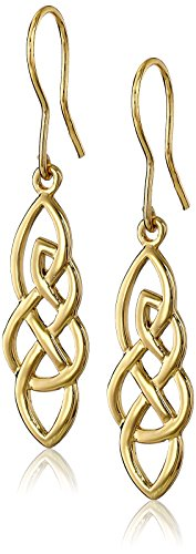 Gold Plated Sterling Silver Elongated Celtic Knot Drop Earrings