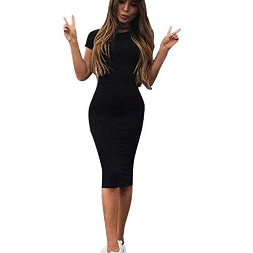 TWIFER Damen Mode Solid Kurzarm Dünnes Kleid Bodycon Midikleid