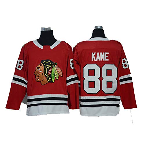 Yajun Patrick Kane#88 Chicago Blackhawks Eishockey Trikots Jersey NHL Herren Sweatshirts Atmungsaktiv T-Shirt Bekleidung,Red,2XL