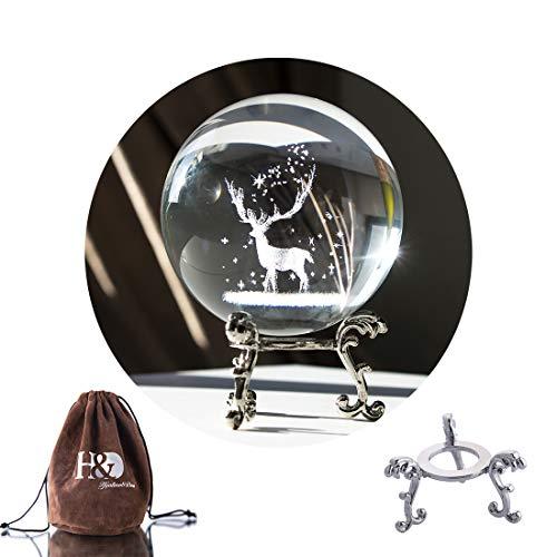 H&D Kristall Foto Objektiv Ball mit Tasche Glaskugel Display Geschnitzte Hirsche Briefbeschwerer Heilmeditationsball