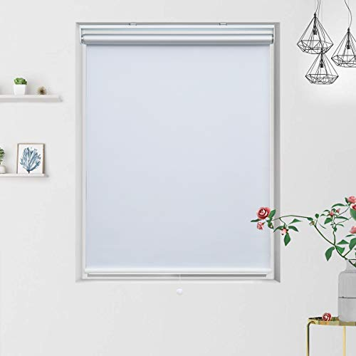 Grandekor Blackout Shades Blackout Blinds Cordless Shade Roller Shades for Windows, Window Blackout Shades Roller Blinds Blackout with Spring System White, 36'(W) x 72'(H)