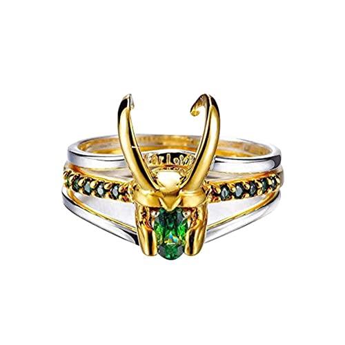 JustPe Loki Ring, 3 en 1 Anillos De Banda De Cristal Esmeralda De Plata Fresca, Anillo De Plata Thor para Mujeres Hombres Marvel Fans Joyería Anillo De Regalo, Aniversario, Joyería Personalizada