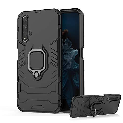 DESCHE für Huawei Nova 5T / Honor 20 Hülle mit Ring, Ringhalterung Handyhülle + Panzerglas, kompatibel mit magnetischer Autohalterung - Schwarz
