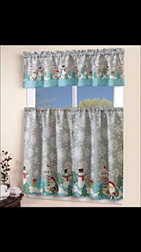 "EHP 3 Piece Christmas Kitchen Curtain Tier & Valance Set (North Pole, 54"" X 15"" Valance, 2 Tiers 27"" X 36"")"