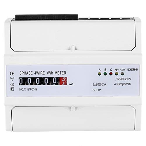 Energy Meter, 6-Digit Meter, Digital 3‑phase 4 Wire DIN‑Rail Electric Meter 20(80) A Electronic KWh Meter IEC62053-21 12 x 10 x 6.5cm