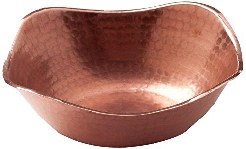 Sertodo Copper, Flat Earth Bowl, Hand Hammered 100% Pure Copper, 7 inch square