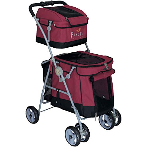 Duo Dog Pushchair with 2 Levels for Dogs Red