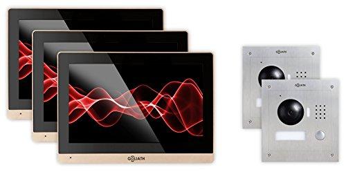 GOLIATH IP Türsprechanlage mit Türöffner, Unterputz Türstation, Edelstahl, HD Kamera, Smart-Phone App, Schwenkbare Kamera, Video-Speicher, 1 Familienhaus Set, AV-VTC189
