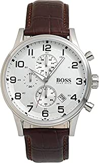 ساعة هيوجو بوس بيضاء للرجال بسوار من الجلد [1512447]