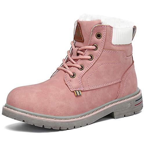 Boys Girls Winter Snow Boots Waterproof Slip Resistant Kid's Hiking Boot Mid Calf Child Outdoor Cold Weather Warm Boot Pink 7.5 Toddler