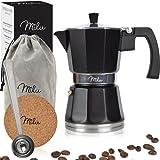 Milu Cafetera espresso apta para inducción | 3, 6, 9 tazas | Cafetera moka de aluminio, cafetera...