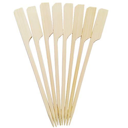 maxpack® 250 Stück hochwertige Fingerfood-Spieße/Holzspieße Paddel 12 cm, Naturholzspieße aus Bambus, für Pfanne, Fingerfood und Antipasti