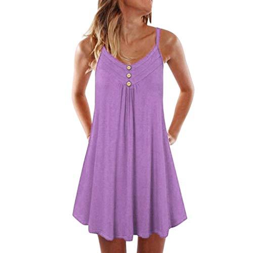 iHENGH Damen Top Bluse Bequem Lässig Mode T-Shirt Blusen Frauen Sleeveless Spaghetti Strap Zweireiher Plain Shift Kleid(Pink, 5XL)