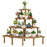 Wooden Plant Stand, Indoor Outdoor Flower Stand Shelves, Decorative Display Rack for Potted Plant for Patio Garden, Living Room, Corner Balcony & Bedroom (4 Tier Corner Plant Stand/Wood Color)