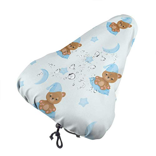 Fall Ing Funda de Asiento de Bicicleta Sleepy Teddy Bear Night Hat Sentado Protector Sol y Lluvia Resistente Bike Saddle Cojín