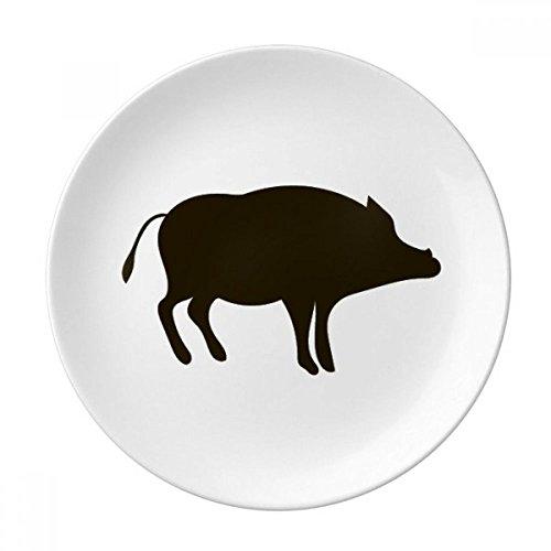 Schwarz Wildschwein Cute Animal Darstellung Porzellan Dekoration Dessertteller 20,3cm Abendessen Home Geschenk