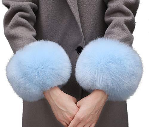 Tngan Winter Faux Fur Arm Warmers Short Furry Wrist Band Ring Cuff for Women (One Size, Blue)