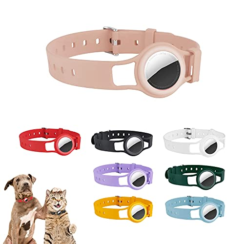 ONTOP Compatible AirTag Dog Collar Holder Waterproof Silicone Anti-Lost Cat and Dog Collar for All Kinds of Cats Dogs and Other Animals 16.7  Dog GPS Tracker Collar Compatible with Apple AirTag