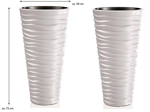 Kreher 2 Stück XXL Pflanztopf der in moderner Wellen Optik mit herausnehmbaren Einsatz. Aus robustem Kunststoff in Alpinweiß. Maße Ø x H in cm: 39 x 75 cm