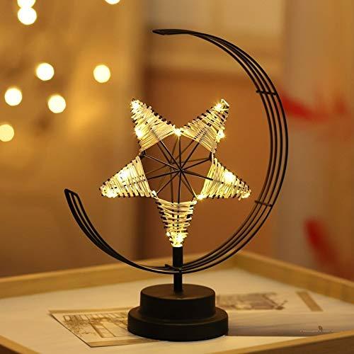 Fashion Tianjiu - Luz de noche de hierro con forma de estrella LED (funciona con pilas negras)