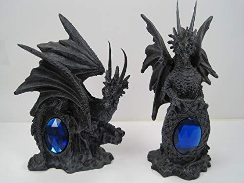 Gifts Galore Mythical Gothic Legends Fantasy Drache mit großem Schmuckstein, 2 Stück
