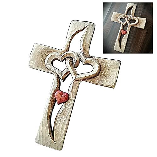 Gesneden kruis met elkaar verweven harten, houten kruis, twee harten verbonden, het beste cadeau voor vrienden, geliefden en familieleden in de naam van liefde en hoop (rood hart)
