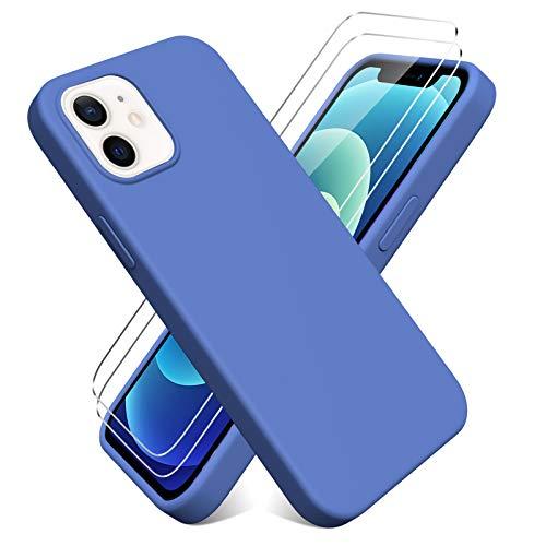 Oududianzi - Cover per iPhone 12/iPhone 12 PRO(6.1'') + [2 Pack] Pellicola Protettiva in Vetro Temperato, Custodia Liquid Silicone TPU Cover Ultra-Sottile AntiGraffio Antiurto Case - Blu Scuro