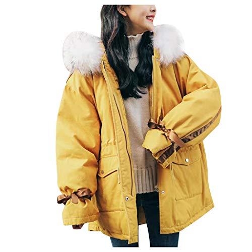 jerferr Damen Jacke Winter Elegant Warme Baumwolle Kapuzenjacke Langärmeligen