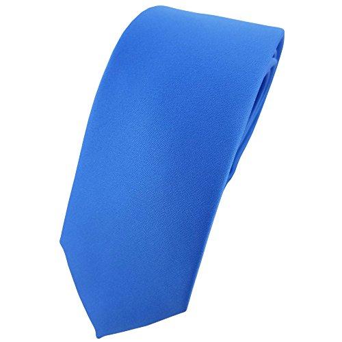 TigerTie schmale Satin Krawatte in blau einfarbig uni