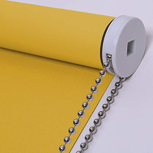 PASSENGER PIGEON Blackout Window Shades, Premium Steel Bead Chain Thermal Insulated Fabric Custom Yellow Roller Blinds Shades, 43' W x 36' L