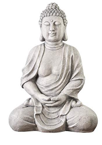 Worldconnection XXXL Großer Buddha 70 cm Steinoptik Garten Deko Figur Skulptur Feng Shui sitzend Steinfigur-Optik