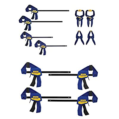 IRWIN QUICK-GRIP Clamps Set, 8-Piece (IRHT83220) & QUICK-GRIP Clamps, One-Handed, Mini Bar, 6-Inch, 4-Pack (1964758)