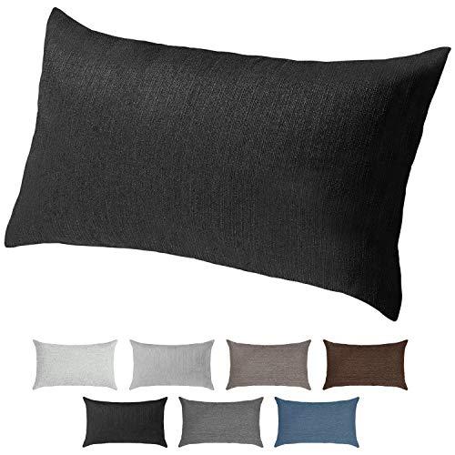 Selfitex Sofakissen, Lounge Rückenkissen, Kopfkissen, Couch- oder Palettenkissen, Dekokissen, Strukturpolsterstoff in vielen Unifarben, trendiges Wohndesign (Schwarz, 40 x 70 cm)