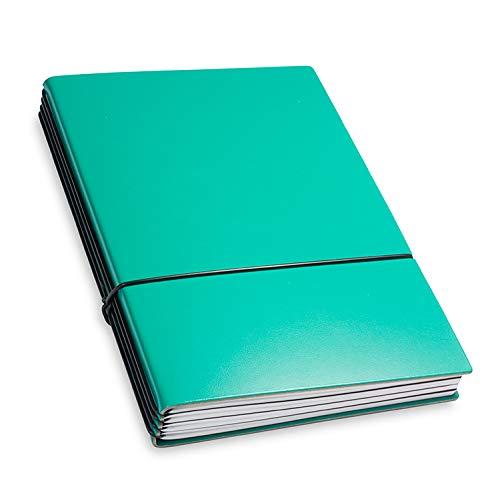 X17- A5 4er Notizbuch Leder-Fasermaterial Türkisgrün mit Wochenkalender 2020, Made in Germany, beschichtetes Lederfasermaterial, 17 Jahre Garantie auf die Hülle!