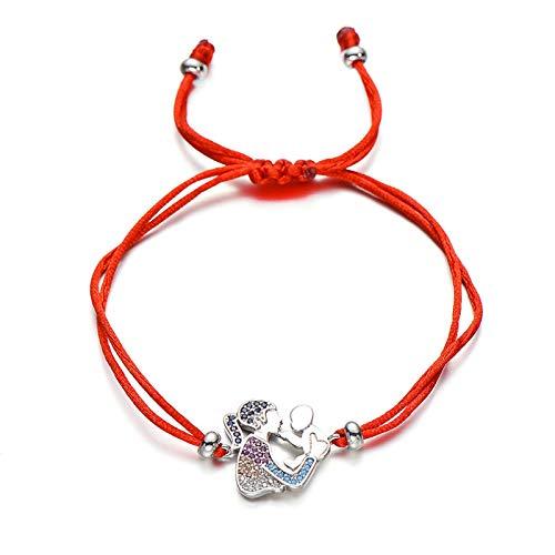 Mano Pulseras Brazalete Joyería Mujer I Love Mother Family Mom Charm Bracelet Lucky Red String Pulseras Cz Zircon Wish J