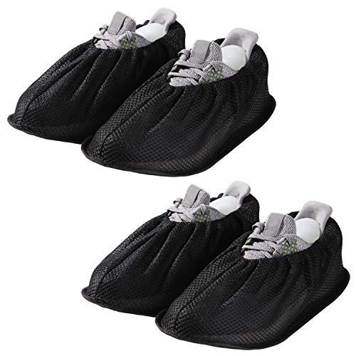 Copriscarpe antiscivolo, copriscarpe, copriscarpe, copriscarpe, copriscarpe antiscivolo, riutilizzabili, senza polvere, lavabile, per la maggior parte degli adulti, unisex – nero (2 paia)