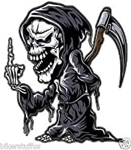Reaper with Middle Finger Sticker Decal Lrg Vinyl - Made in USA 4 in. x 3.5 in.