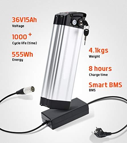 41VkG8Xb2xL - SEASON E-Bike Akku 36V 15Ah(555Wh) mit USB, Pedelec Ersatzbatterie für Aldi Prophete Mifa Samsung Phylion