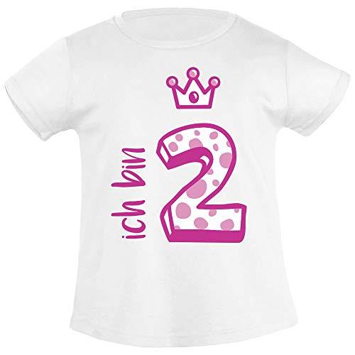 Shirtgeil Ich bin Zwei Krone 2 Geburtstag Mädchen T-Shirt 94 Weiß
