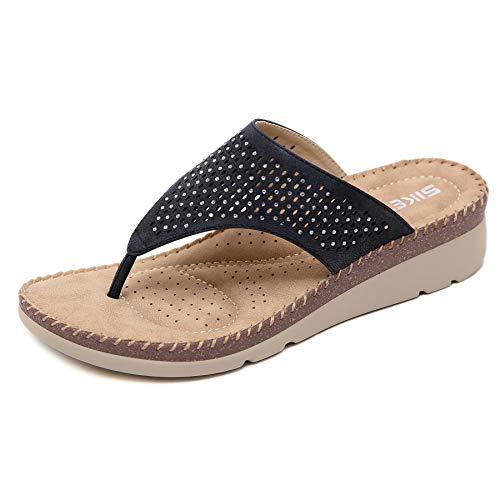 Chanclas Mujer Verano Playa Piscina Comodas Piel Sandalias Planas Caminar Ortopedicas Zapatos