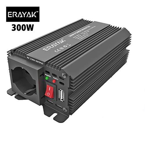 ERAYAK 600W Convertisseur Transformateur de DC 12V /à AC 230V avec 2 AC Sortie Adapteur C/âble d/'Allume-cigare de voiture et Clips dalligator 2.1A Ports USB