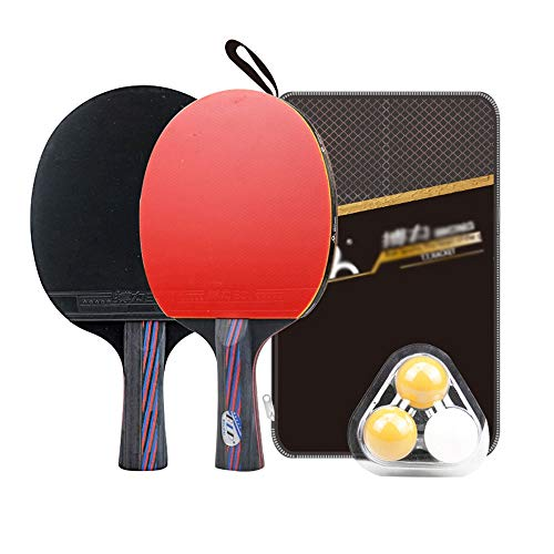 Buy HEXL Portable Ping Pong Set, 2 Paddles/Rackets, 3 Quality Balls, Table Tennis Racket Practice ...