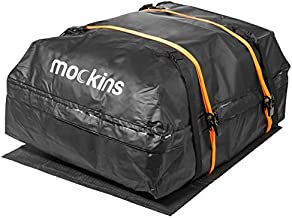 Mockins Waterproof Cargo Roof Bag Set with A Protective Car Roof Mat and 2 Extra Ratchet Straps | The Car Top Carrier Bag is Made from Heavy Duty Abrasion Resistant Vinyl and has 15 Cubic ft of Space