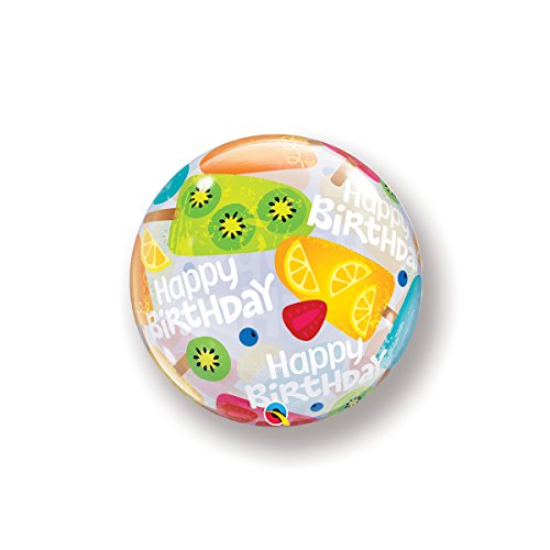 Qualatex Bubble Ballon 49089 verjaardag Frozen behandeld, 55,9 cm kleurrijke